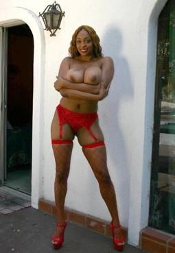 Leggy ebony pornstar and BBB in red..