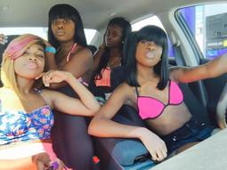 Black afro babes posing